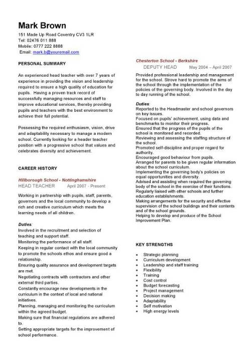 Head teacher CV sample, curriculum vitae, teaching CV, job