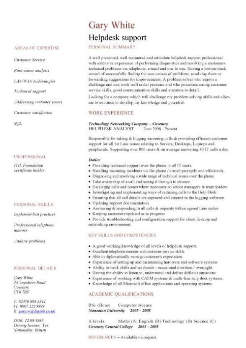 Helpdesk CV sample, writing a CV, resume, curriculum vitae, job