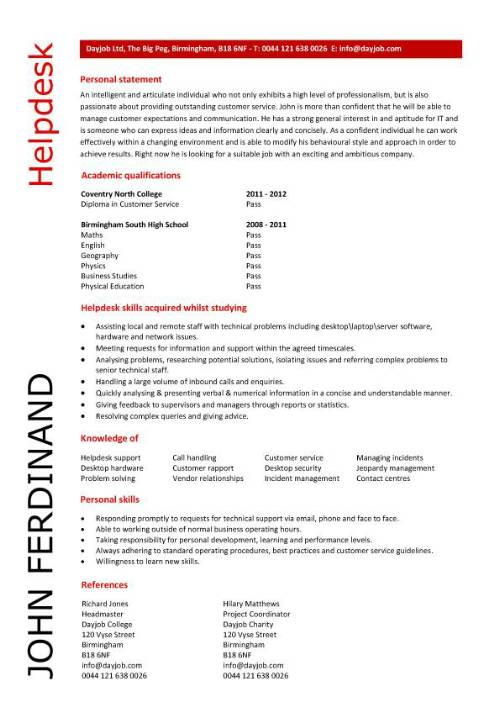 template cv it helpdesk