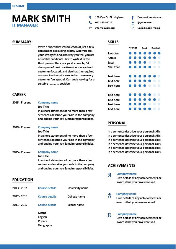IT manager CV sample, managerial resume, team leader, career history