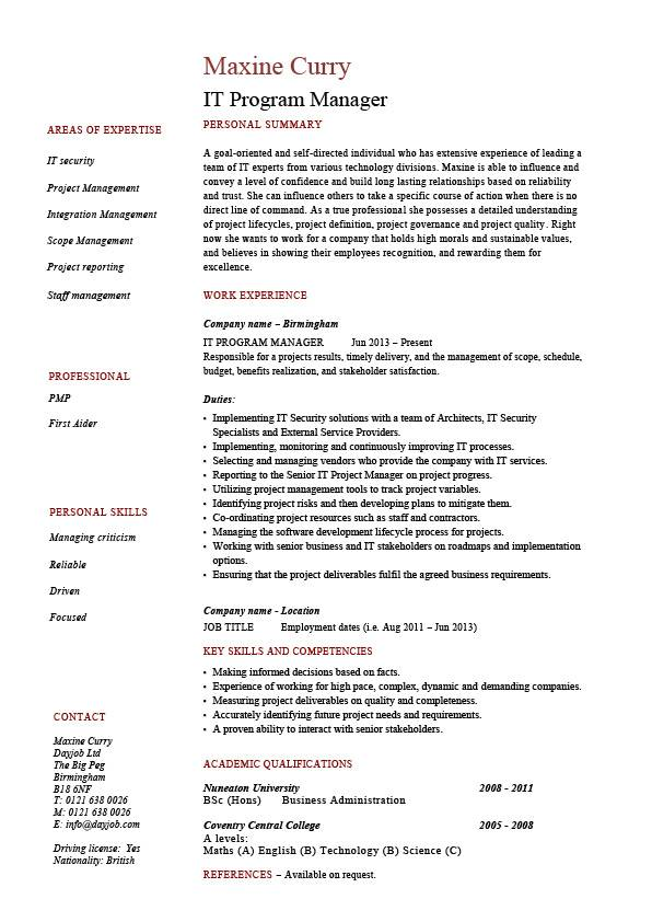 IT program manager resume, sample, CV, job description, technology