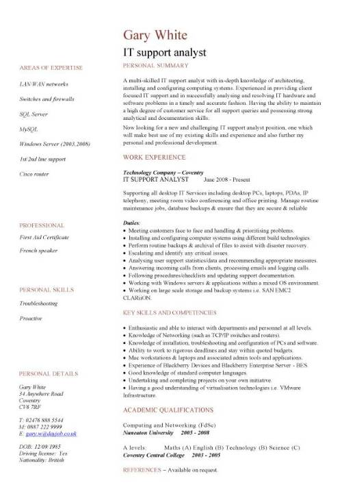 IT support analyst CV sample, show your key strengths and explain