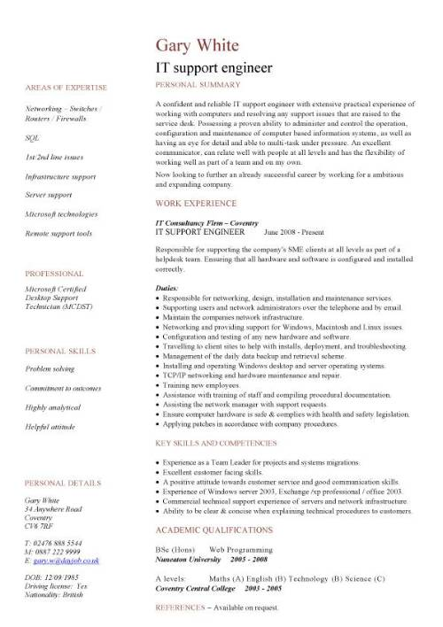 IT support engineer CV sample, 1st line support, job hunting