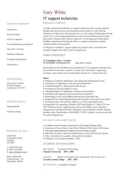 it support technician resumes - Canasbergdorfbib