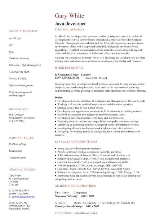 java developer CV sample, JavaScript, job description, CV examples