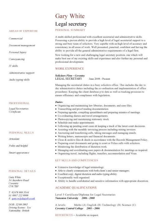 Legal secretary CV sample