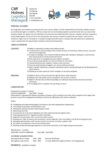 Logistics manager CV template, example, job description, supply