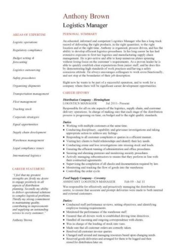 logistics operations sample resume