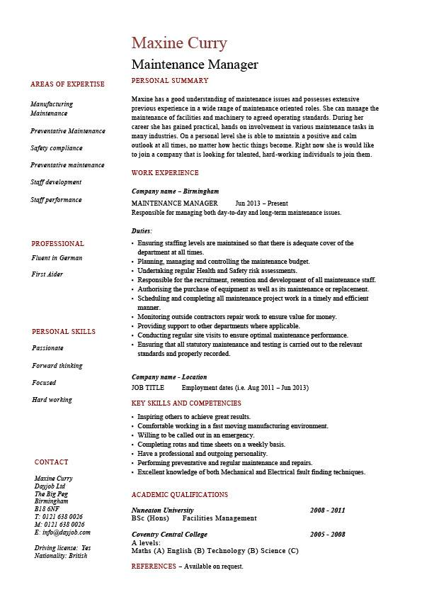 Maintenance manager resume, example, job description, samples