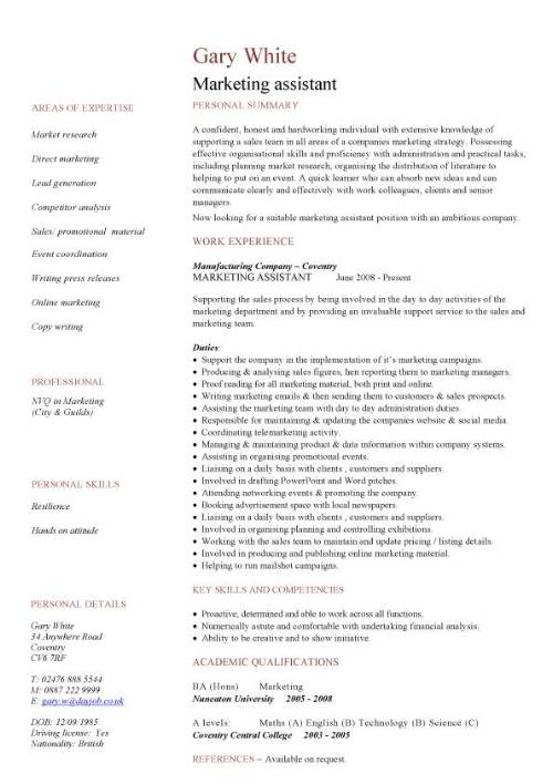 marketing assistant cv sample uk