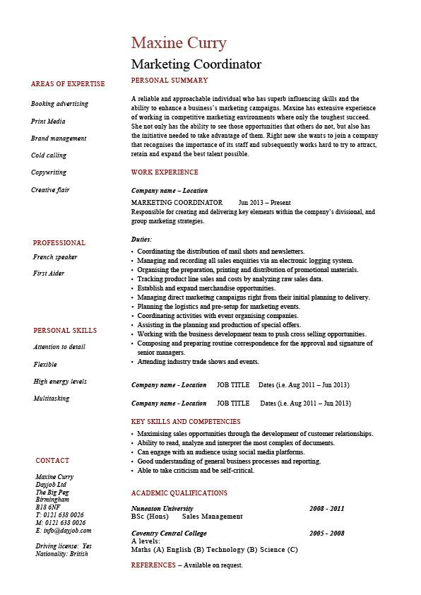 Marketing coordinator resume, sales, example, sample, advertising