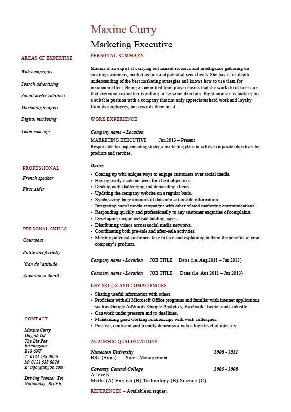 sales marketing cv - Canasbergdorfbib