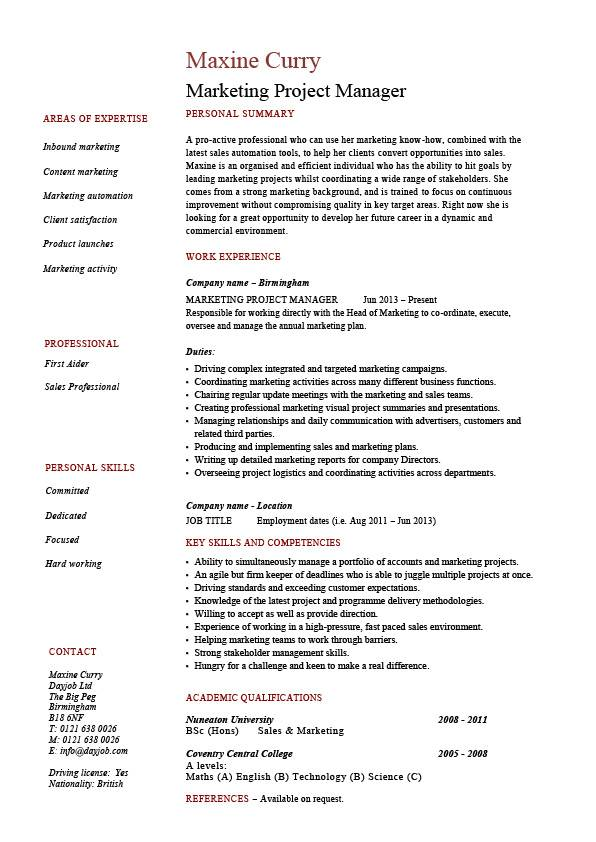 Marketing project manager resume, drumming up business, sample