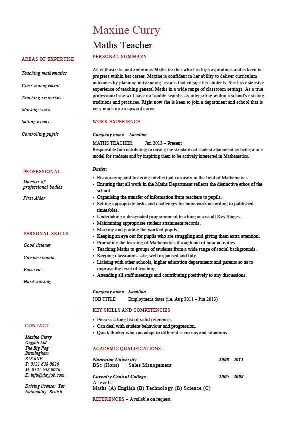 Maths teacher CV template, maths teacher job, mathematics, key stage