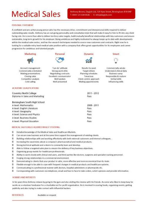 Student entry level Medical Sales resume template