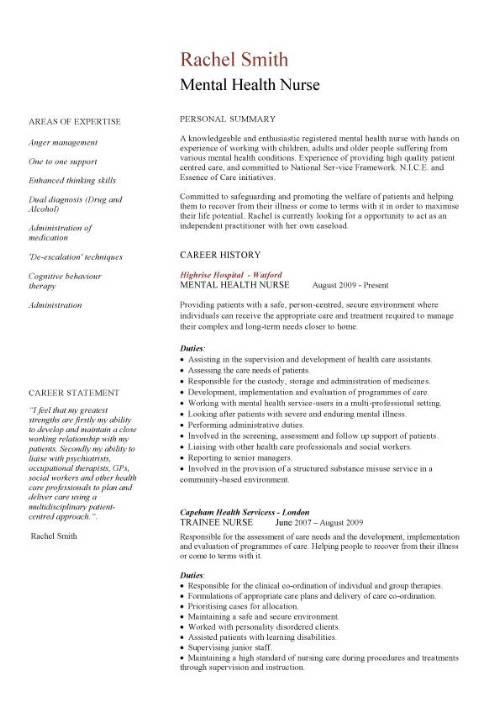 Mental health nurse CV sample, career history, resume example