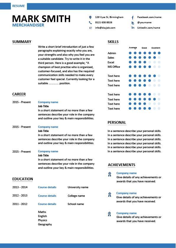 Merchandiser resume, example, sample, visual, marketing, looking for