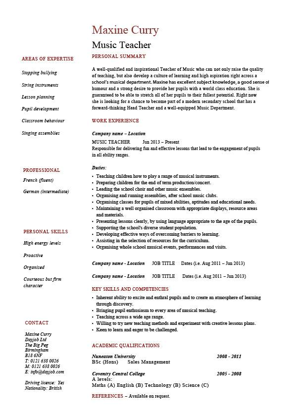 Music teacher CV template, job description, resume, curriculum vitae