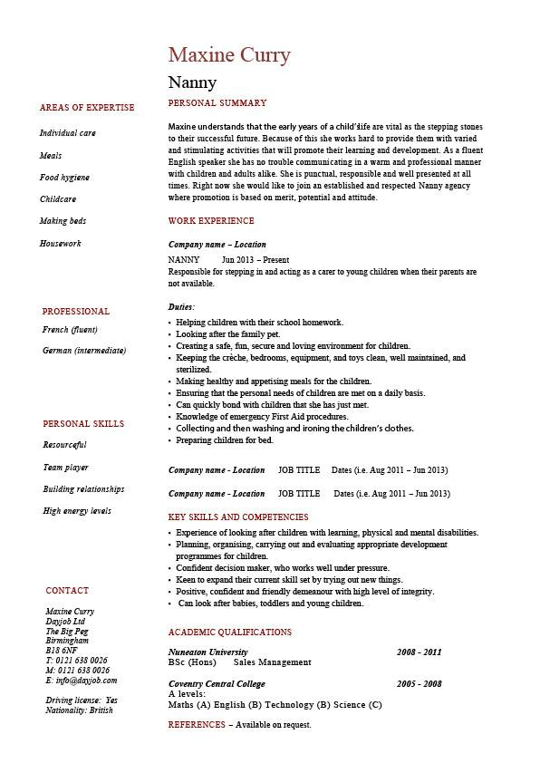 example cv for babysitting