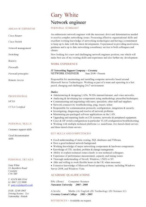 Network engineer CV sample, CV examples, technology job description