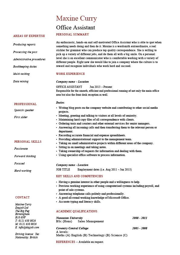 Office Assistant resume, administration, example, sample, references
