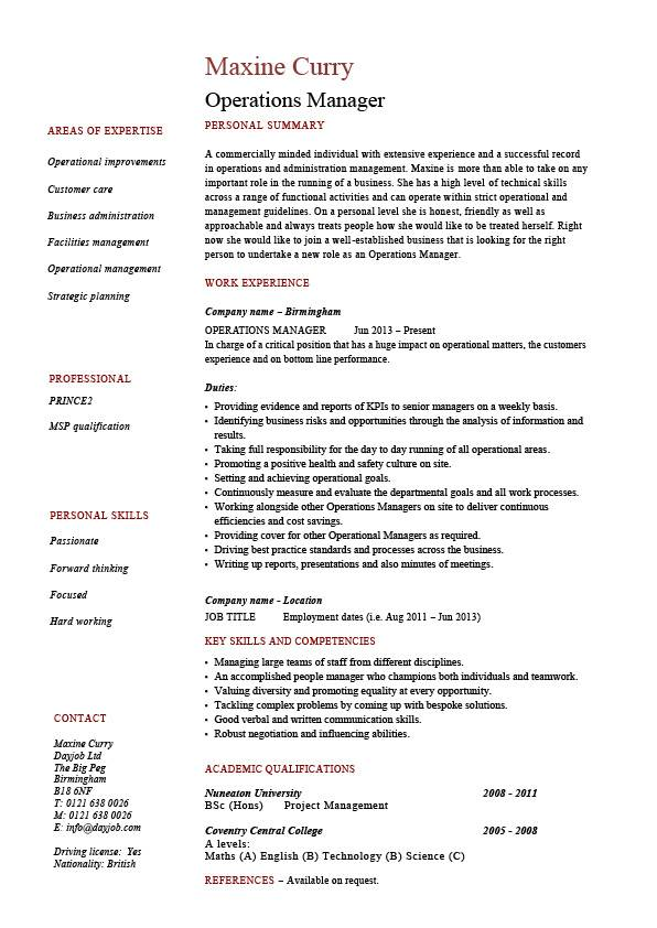 Operations manager resume, job description, example, template