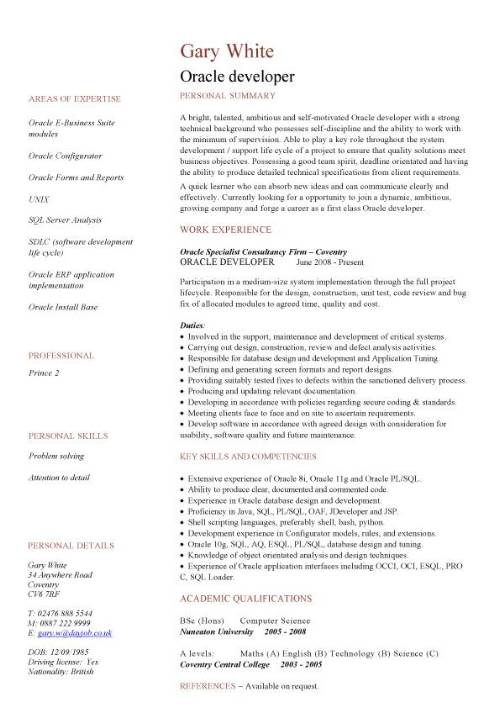 oracle resume - Canasbergdorfbib