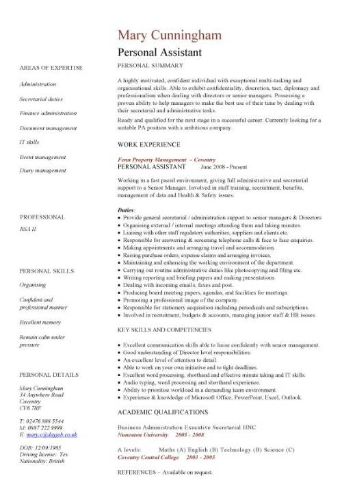 Personal assistant CV sample