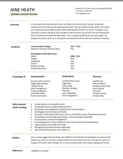 Student entry level Personal Assistant resume template