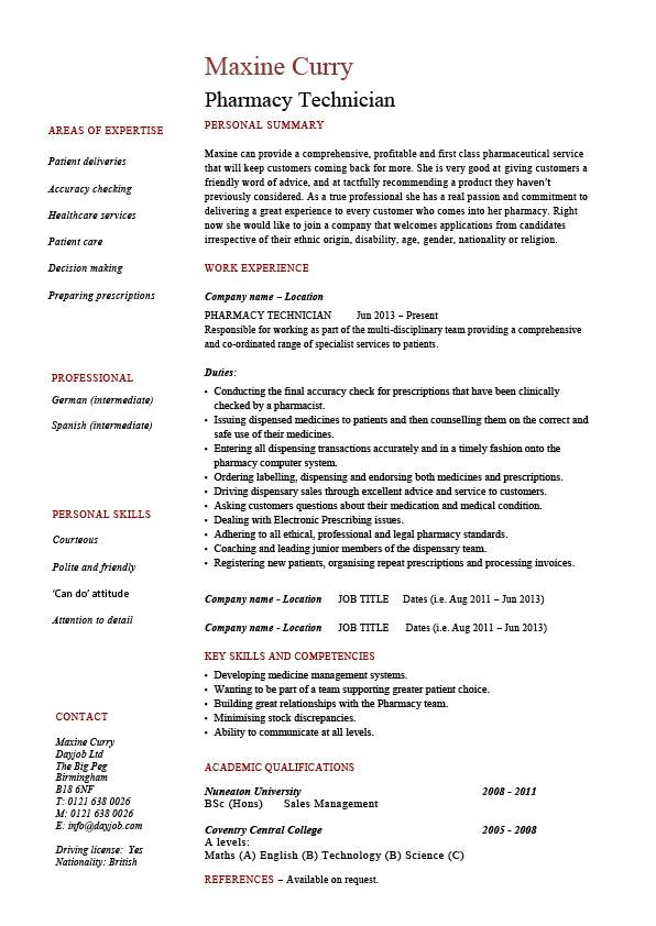 hospital pharmacy technician resume sample