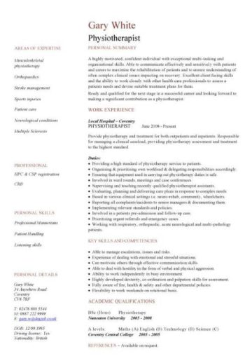 cv for physiotherapist