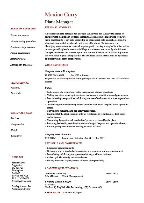 Plant manager resume, production, job description, CV, example