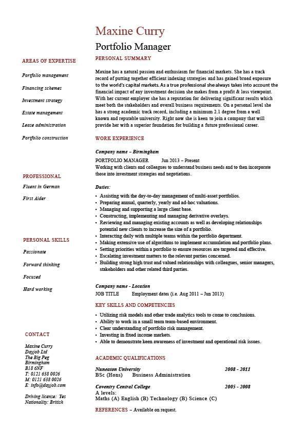 Portfolio manager resume, investments, CV, job description, example