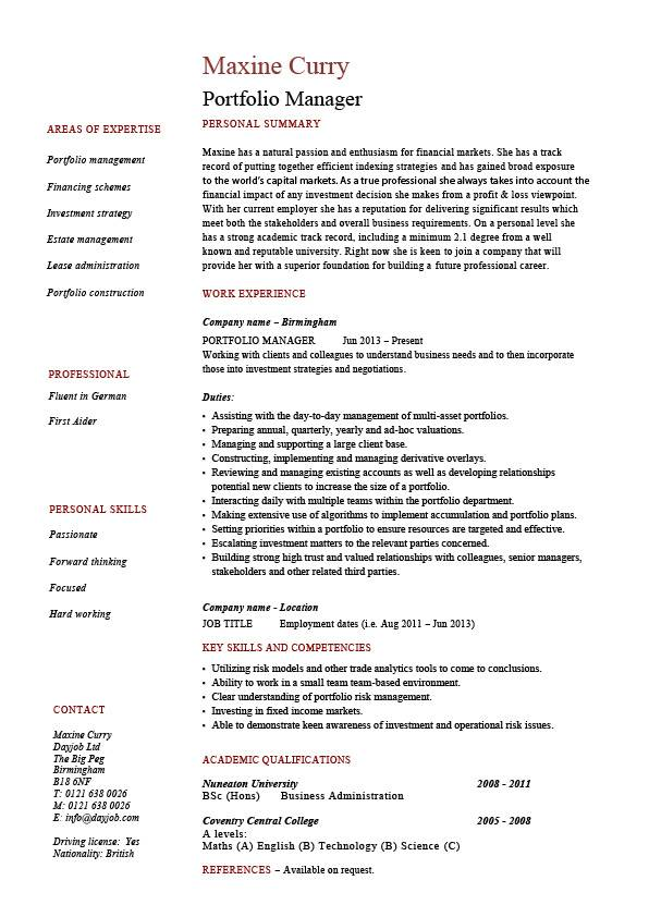 investment manager resume sample