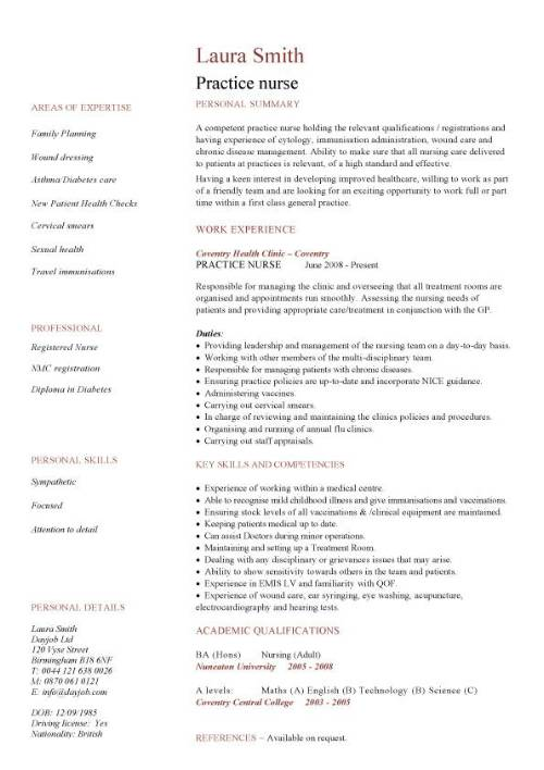 Practice nurse CV sample