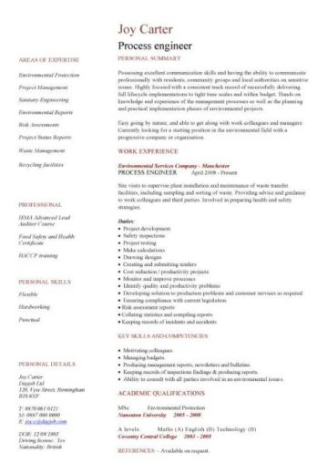 process engineer cv