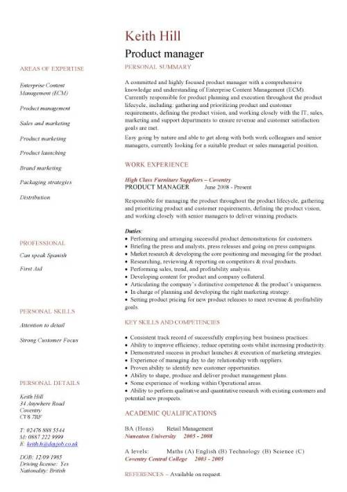 Product manager CV sample
