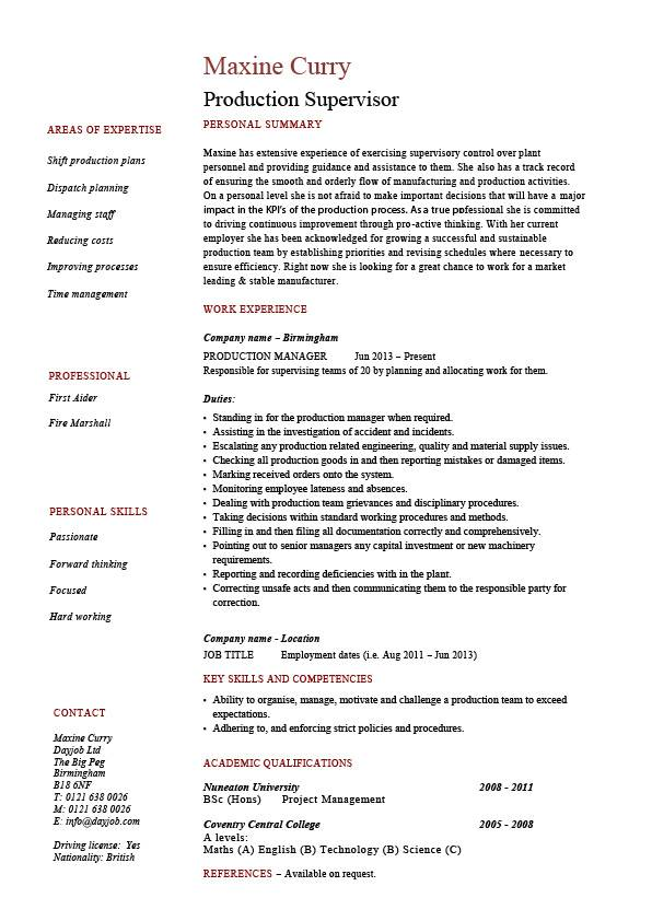 Production supervisor resume, sample, example, template, job