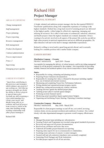cv english project manager
