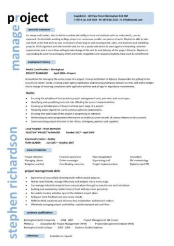 Project manager CV template, construction project management, jobs