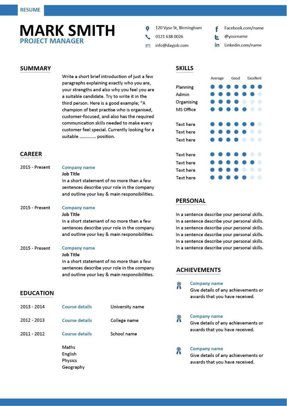 project manager resume template do