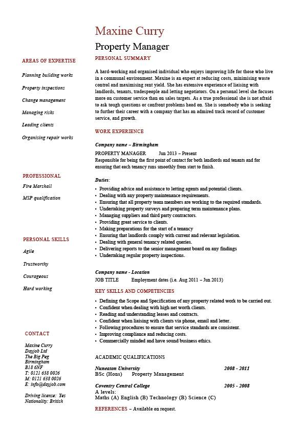 Property Manager resume, example, sample, template, job description