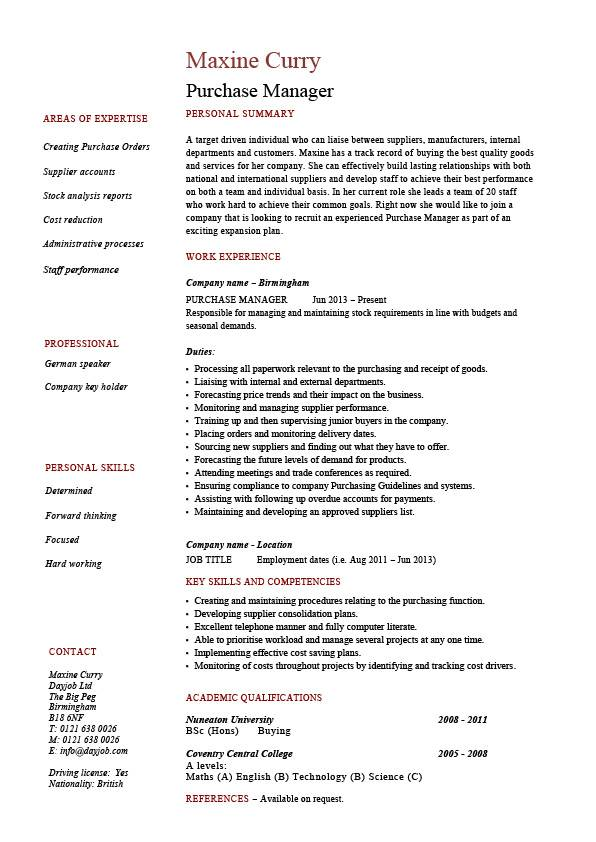 Purchase manager resume, job description, samples, examples