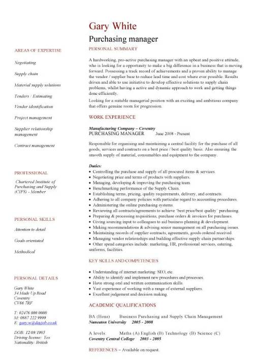 cv exemple sourcing manager