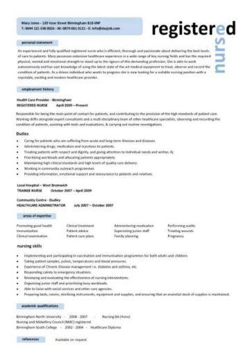 resume personal statement examples nursing