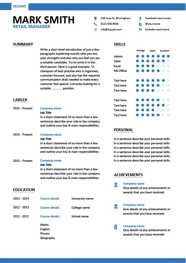 bar manager cv template