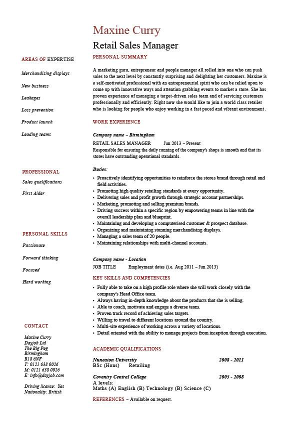 Retail sales manager resume, example, job description, sample