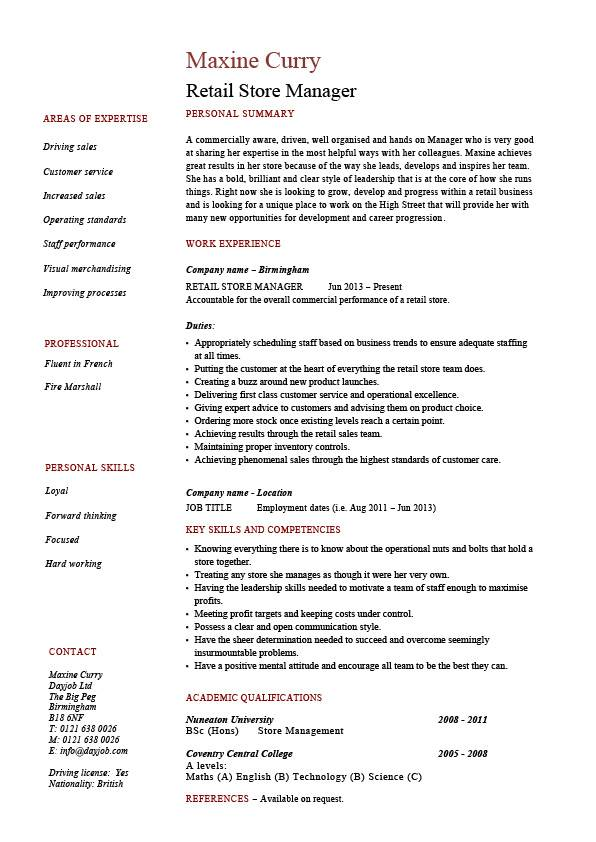 Retail store manager resume, job description, sample, example