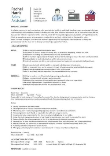 cv technical sales assistant