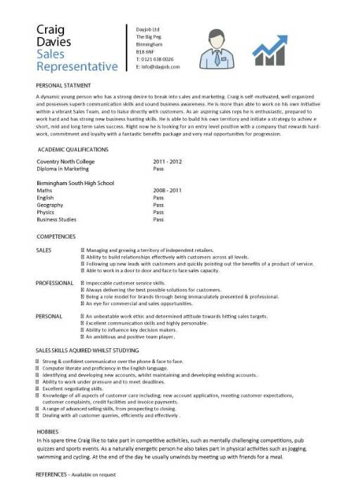Student entry level Sales Representative resume template